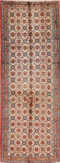 All-Over Floral Ivory Varamin Persian Hand-Knotted Runner Rug Wool 4x9