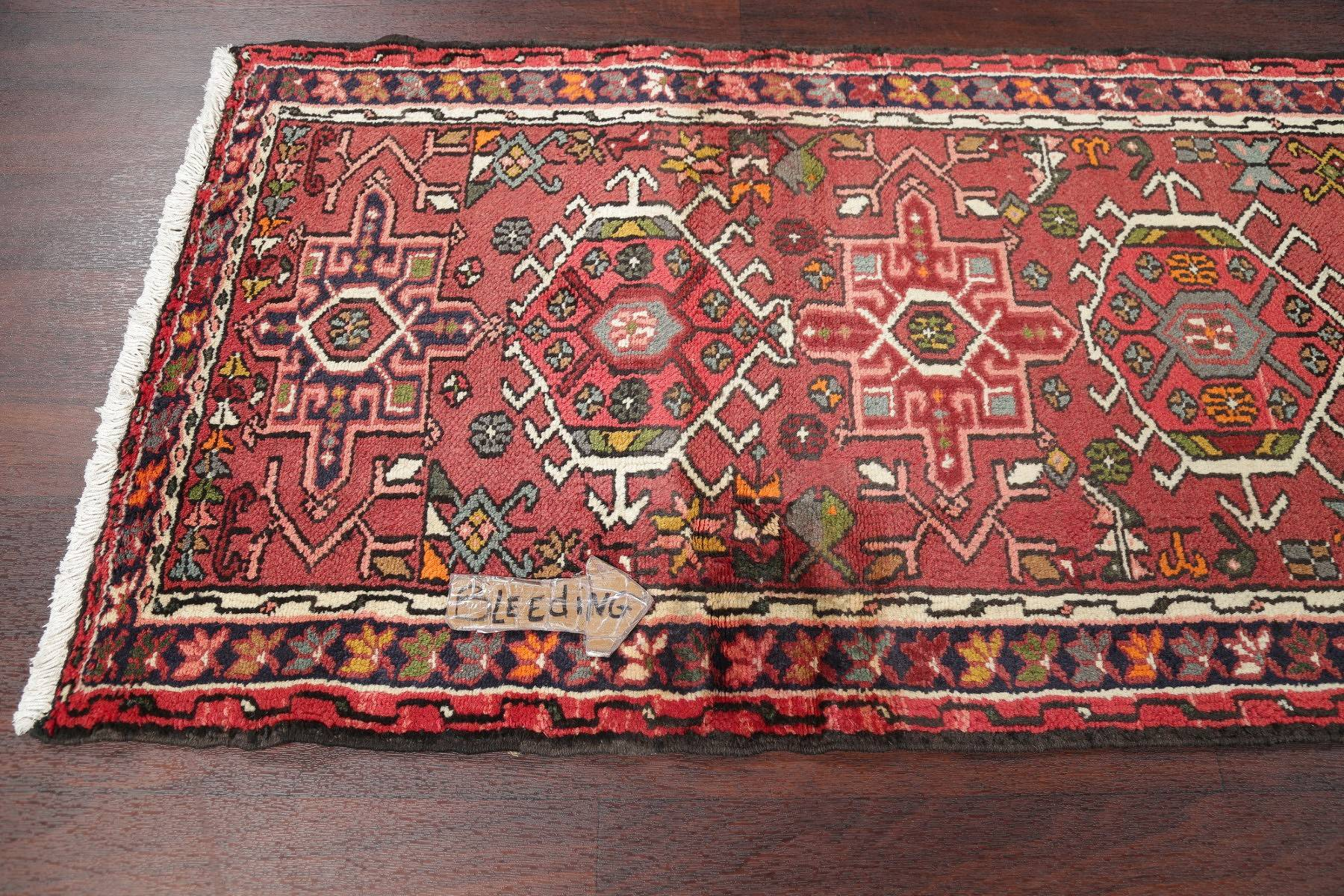 Geometric Red Gharajeh Persian Hand-Knotted Runner Rug Wool 3x9