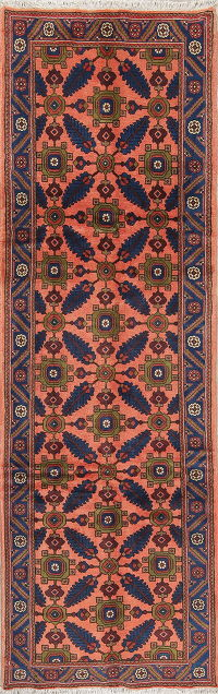 Coral Floral Sarouk Persian Hand-Knotted Runner Rug Wool 3x9