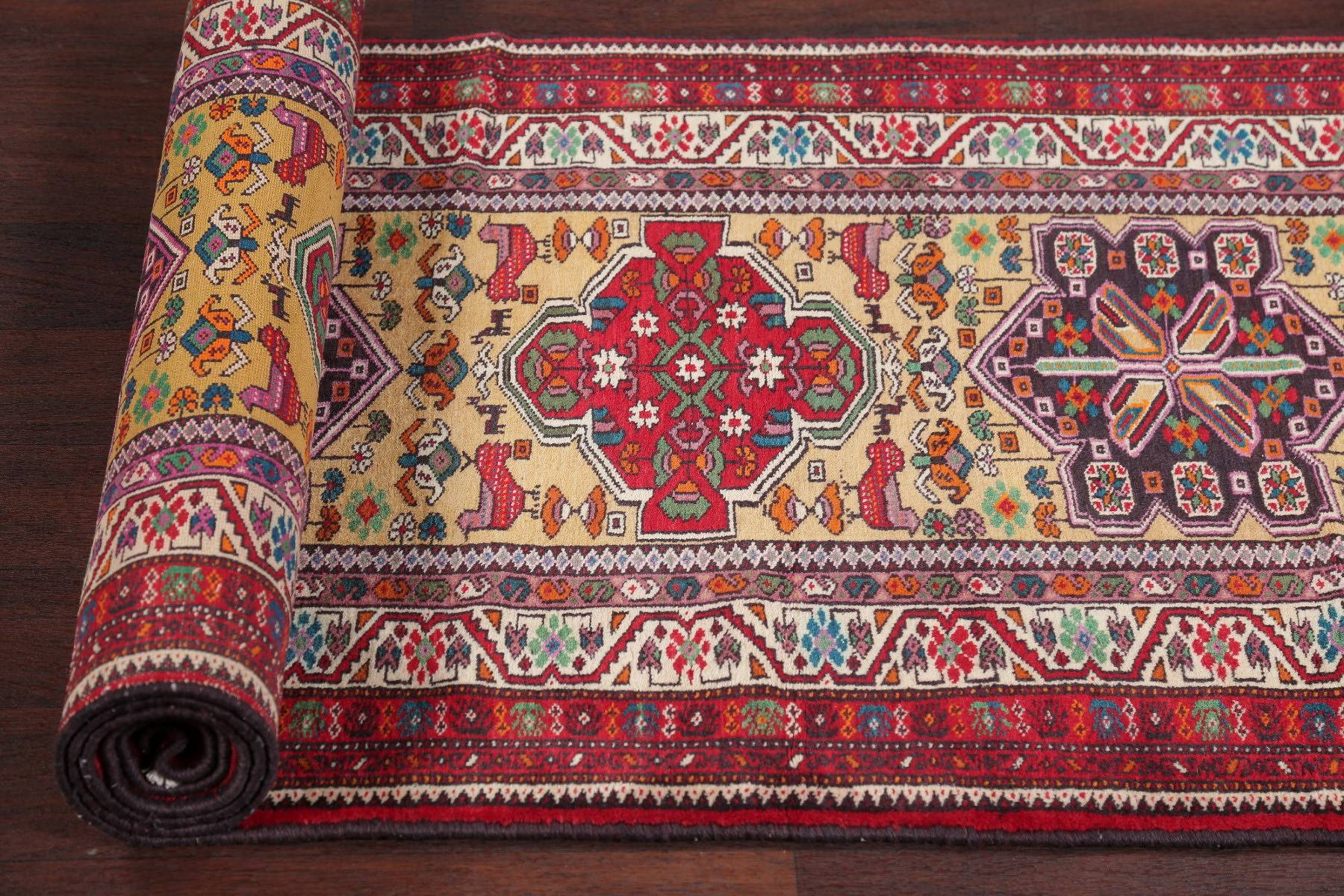 Geometric Tribal Turkoman Persian Hand-Knotted Runner Rug Wool 3x13