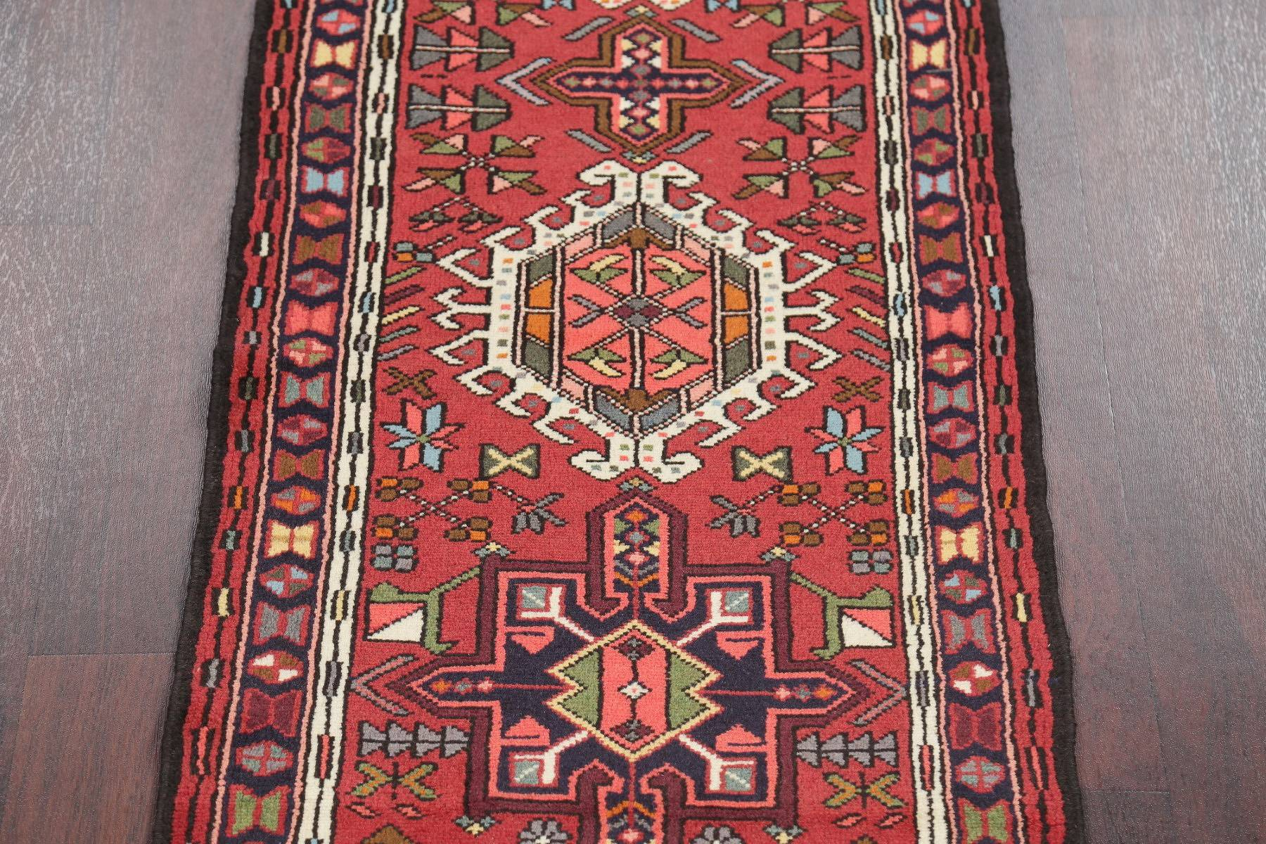 Geometric Red Gharajeh Persian Hand-Knotted Runner Rug Wool 2x12