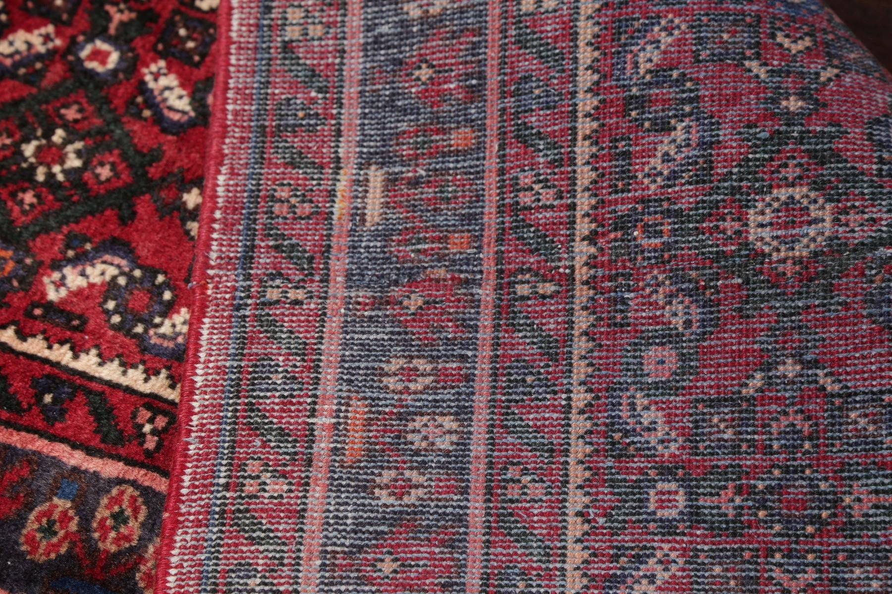 All-Over Geometric Red Hamedan Persian Hand-Knotted Runner Rug Wool 3x7