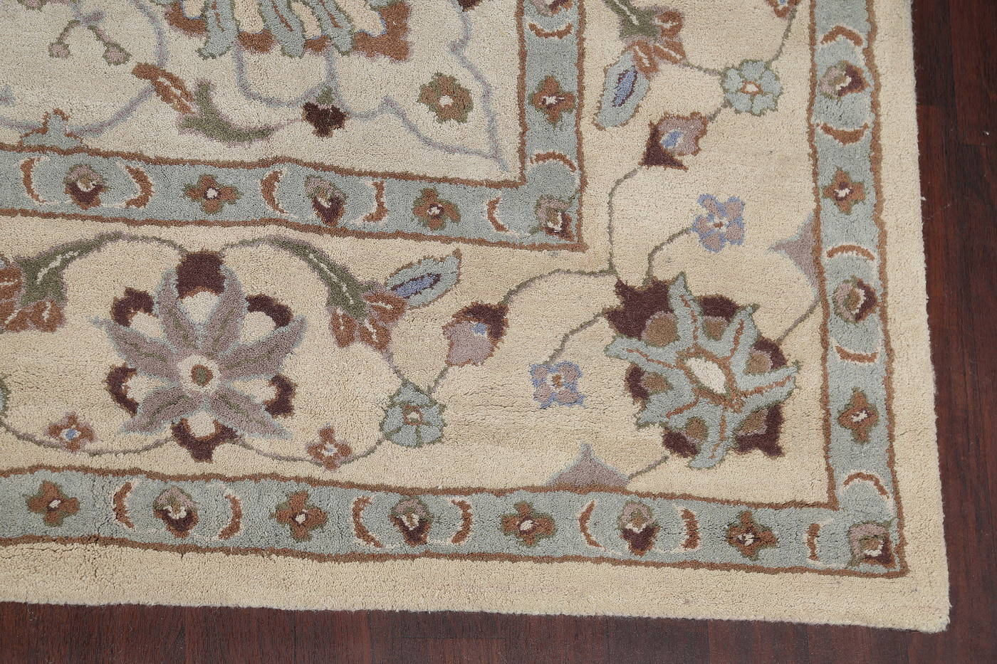 Hand-Tufted Traditional Floral Light Blue Oushak Oriental Area Rug Wool 11x16