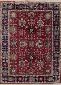 All-Over Dark Pink Oushak Oriental Hand-Knotted 9x12 Wool Area Rug
