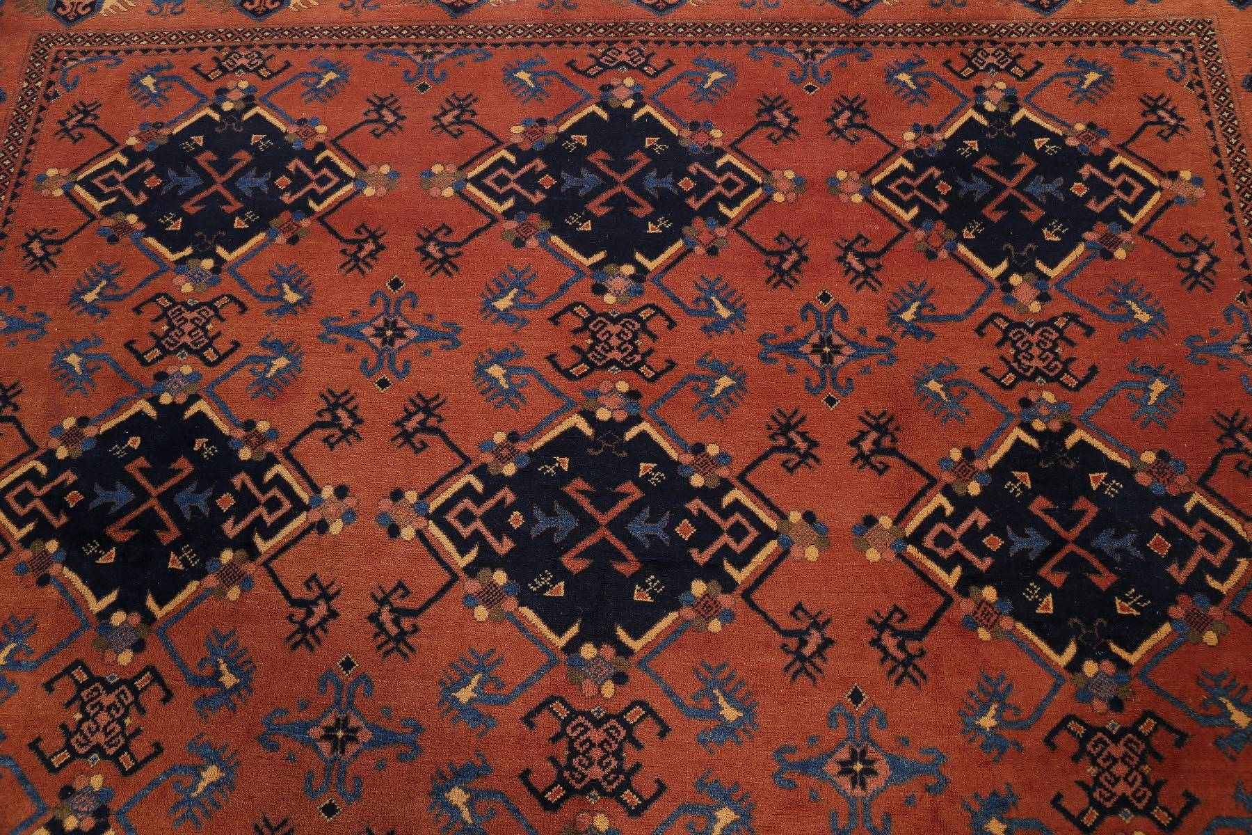 Geometric Orange Balouch Afghan Oriental Hand-Knotted Area Rug Wool 8x12