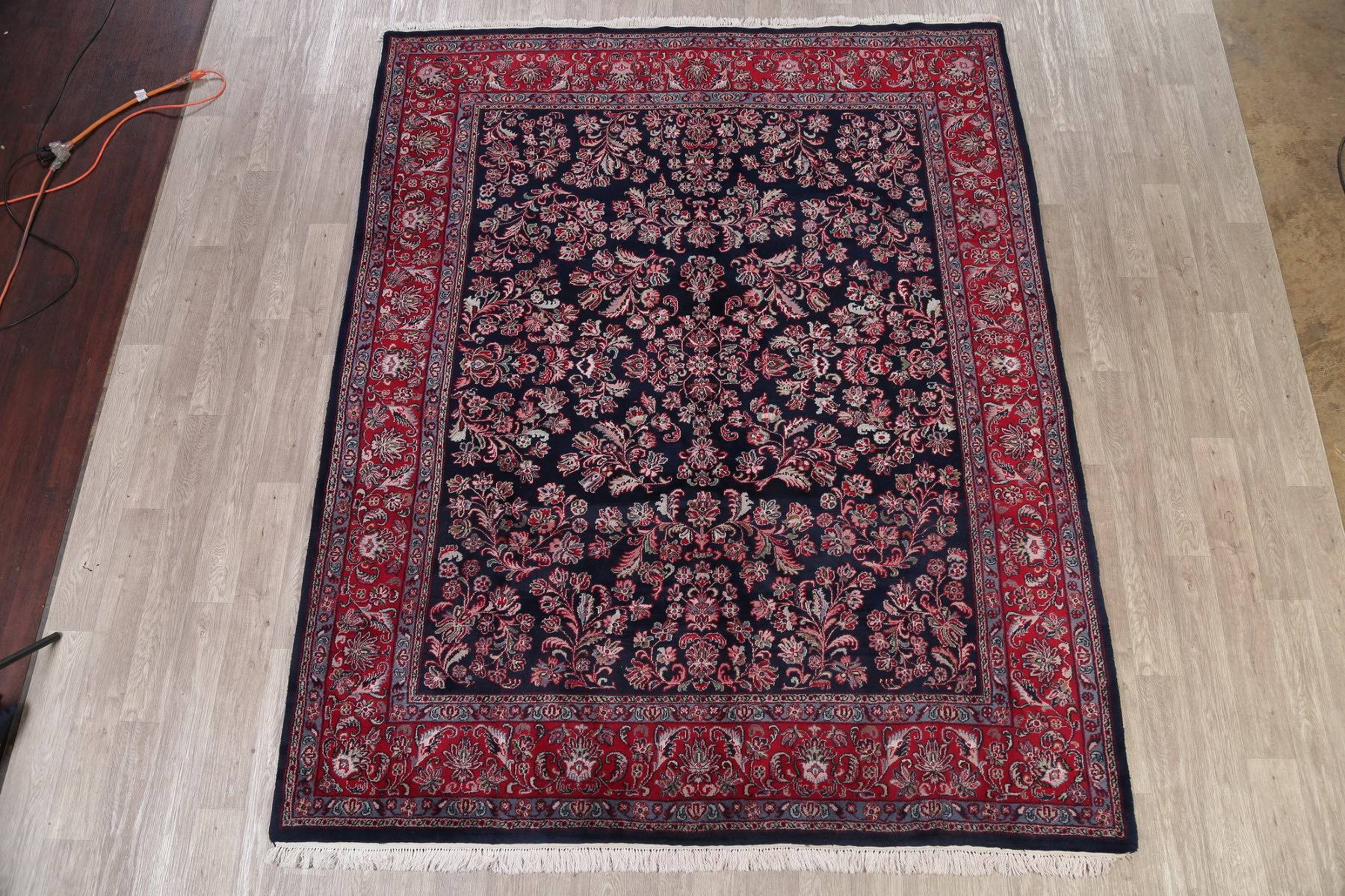 Floral Navy Blue Sarouk Indian Oriental Hand-Knotted Area Rug Wool 8x10