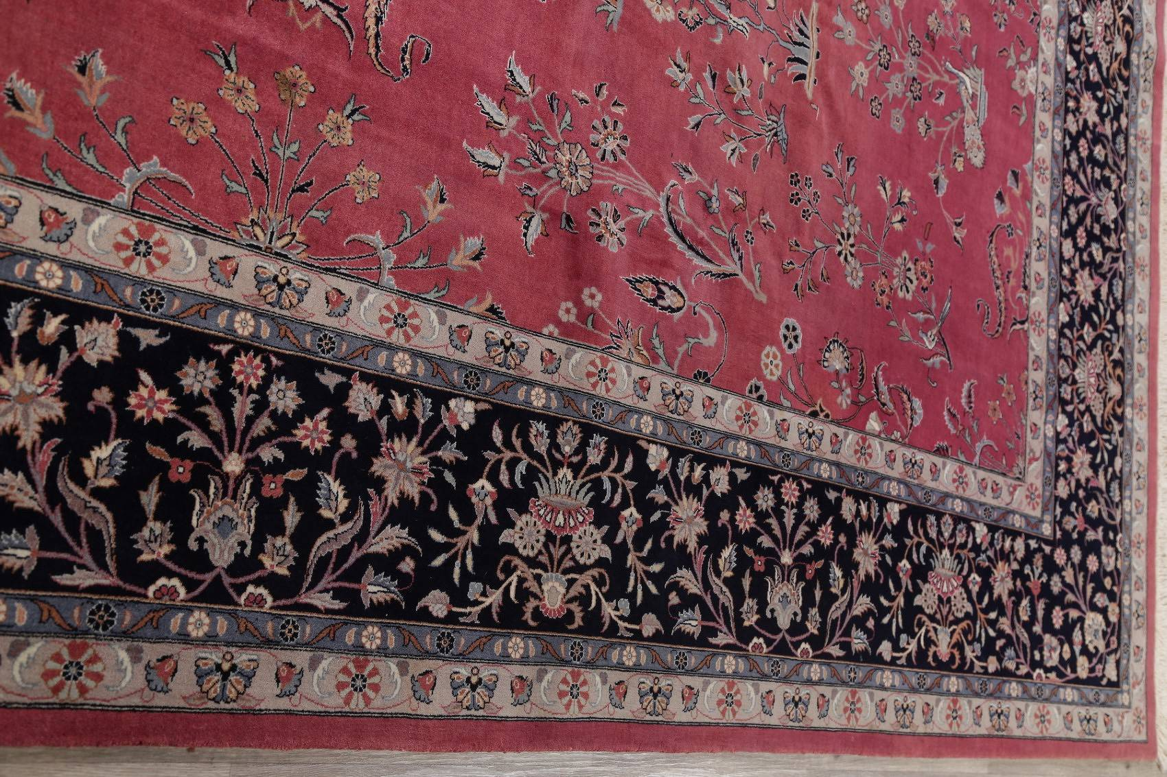 Floral Red Sarouk Oriental Hand-Knotted Area Rug Wool 10x14