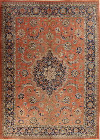 Pre-1900 Rust Vegetable Dye Tabriz Persian Antique Area Rug Wool 10x14