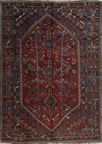 Pre-1900 Vegetable Dye Tribal Red Qashqai Shiraz Persian Antique Area Rug 8x11
