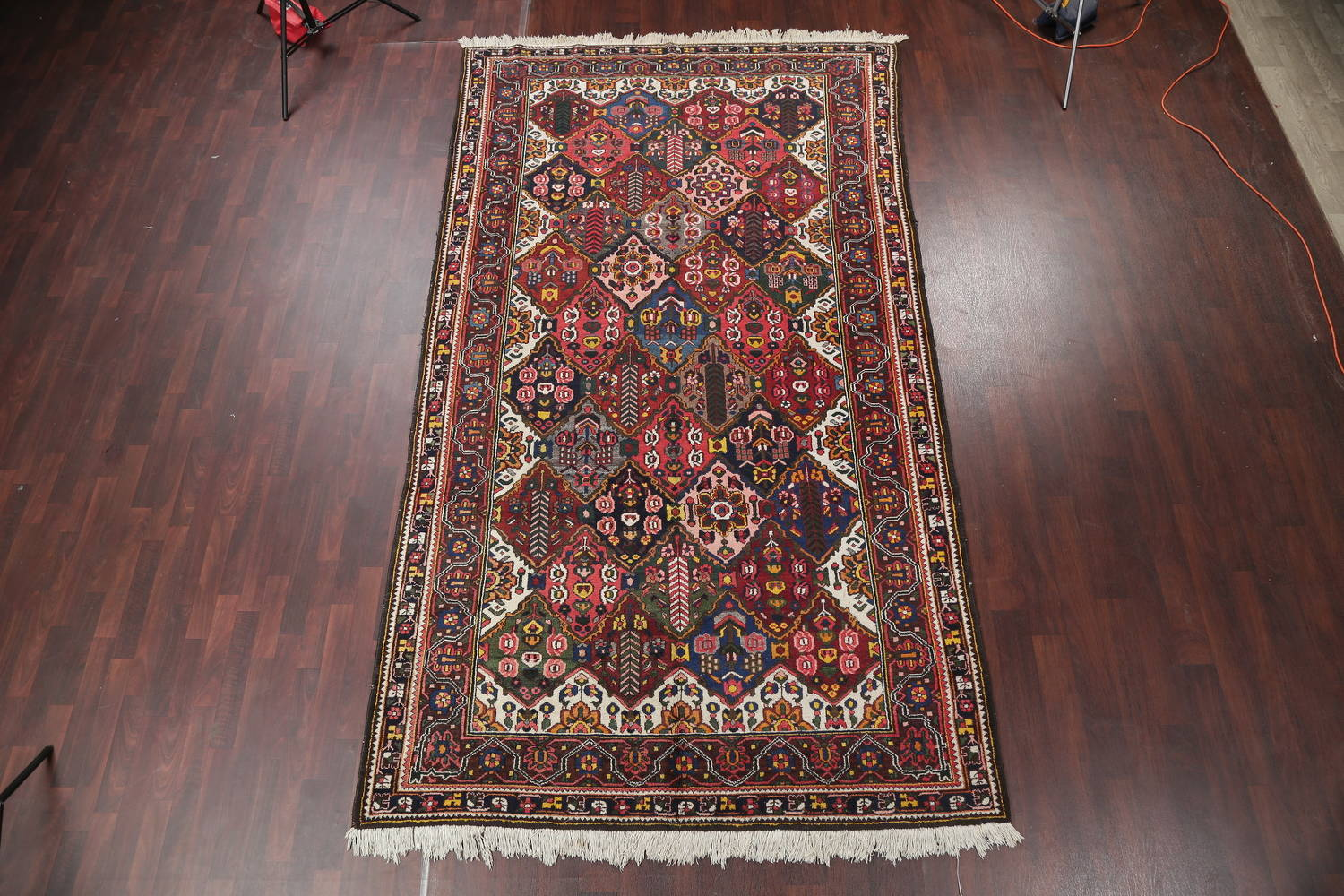 Antique Vegetable Dye Bakhtiari Persian Hand-Knotted Area Rug 7x12 image 2