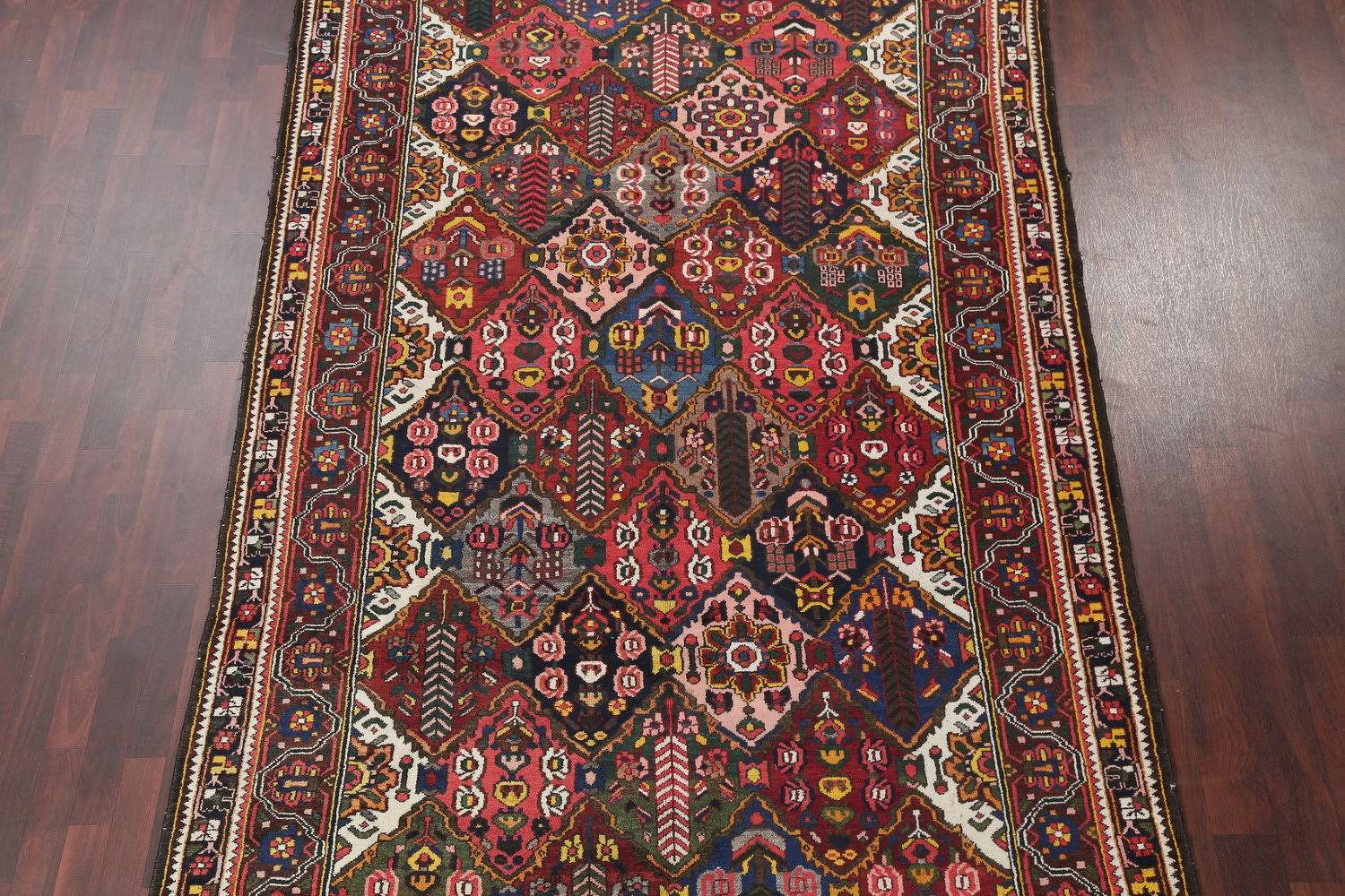 Antique Vegetable Dye Bakhtiari Persian Hand-Knotted Area Rug 7x12 image 3