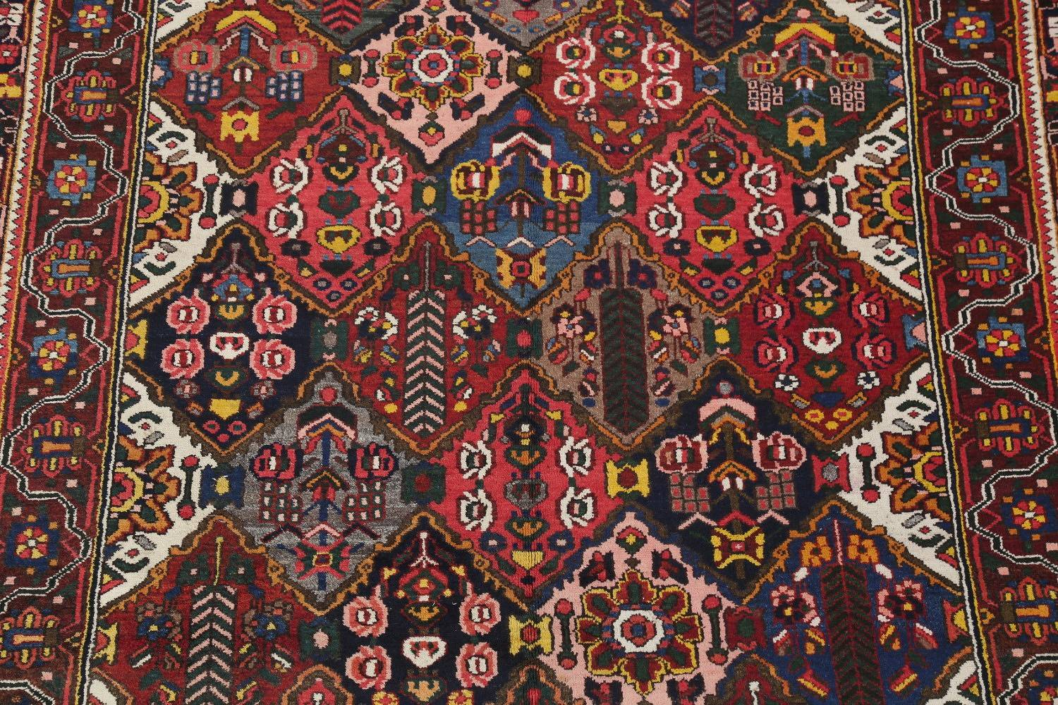 Antique Vegetable Dye Bakhtiari Persian Hand-Knotted Area Rug 7x12 image 4