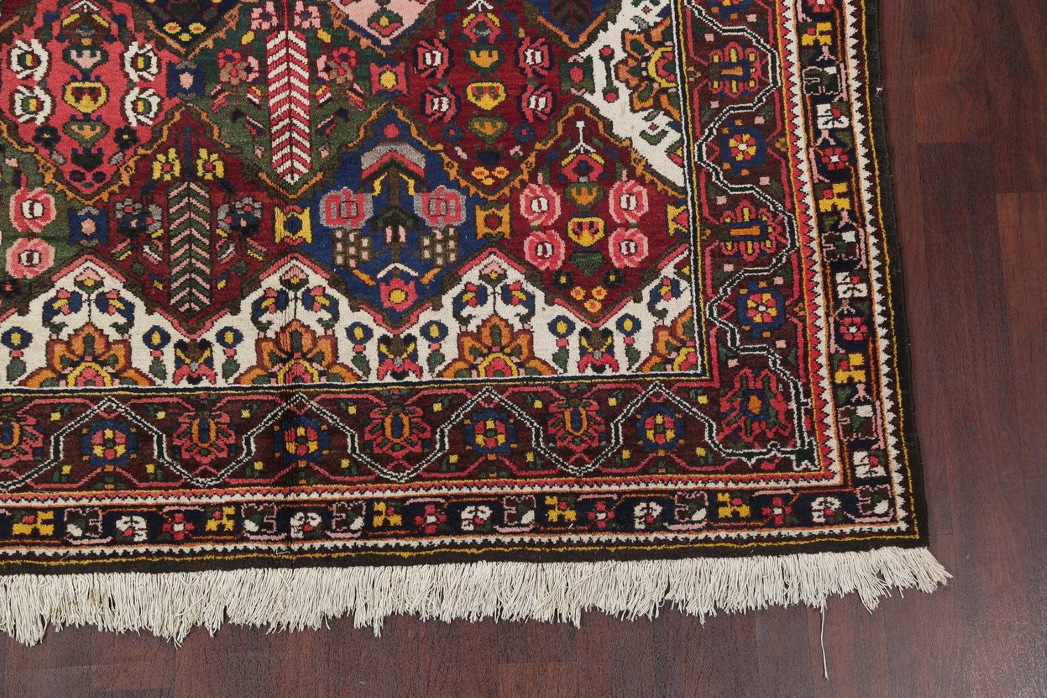 Antique Vegetable Dye Bakhtiari Persian Hand-Knotted Area Rug 7x12 image 6