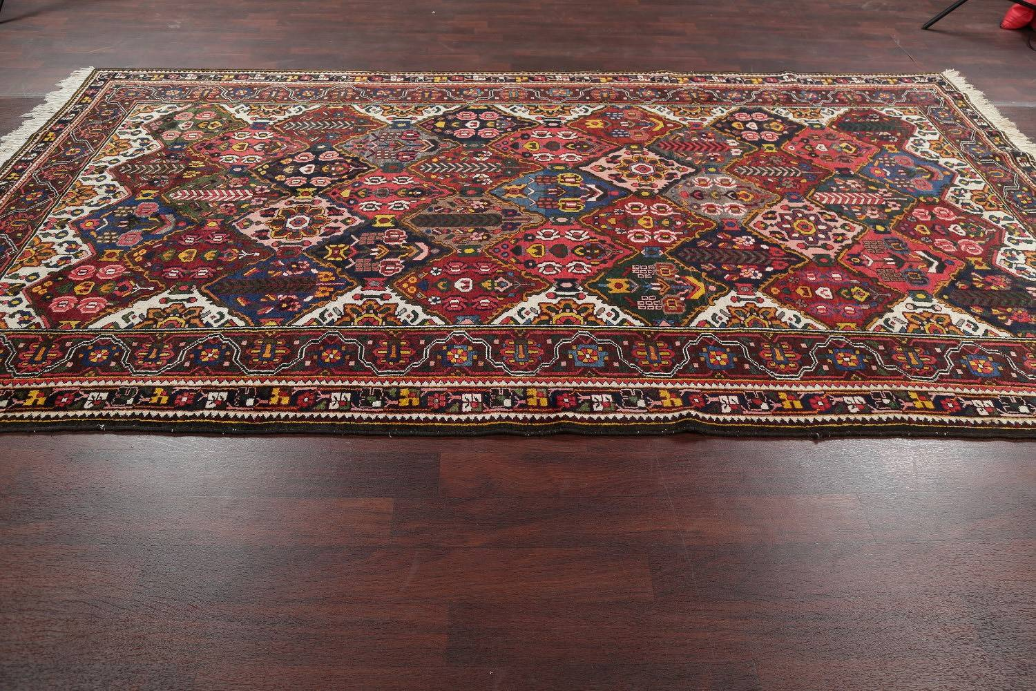 Antique Vegetable Dye Bakhtiari Persian Hand-Knotted Area Rug 7x12 image 15