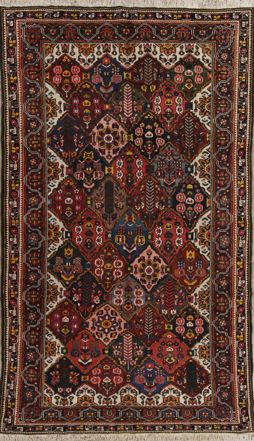 Antique Vegetable Dye Bakhtiari Persian Hand-Knotted Area Rug 7x12 image 1