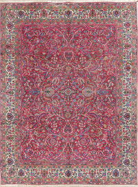 Antique Flora Magenta Pink Kerman Persian Hand-Knotted Area Rug 9x12