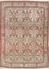 Antique Vegetable Dye Ivory Qum Qom Persian Area Rug Wool 7x10
