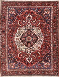 Red Geometric Bakhtiari Persian Hand-Knotted Area Rug Wool 10x13