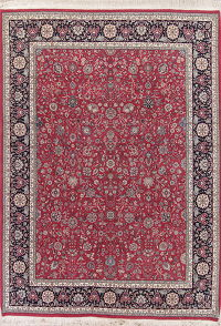 Floral Burgundy Red Sarouk Oriental Hand-Knotted Area Rug Wool 9x12
