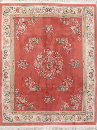 Transitional Floral Art Deco Chinese Hand-Knotted 8x10 Area Rug