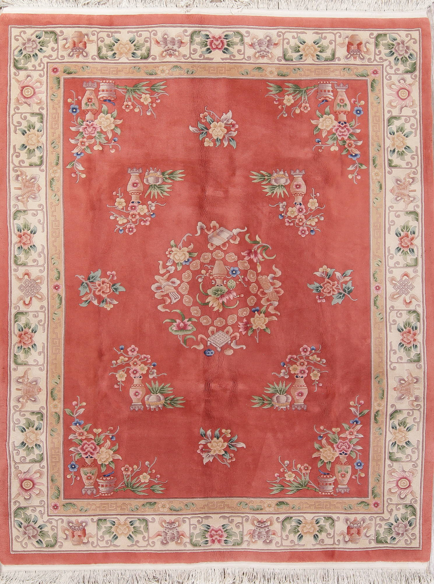 Transitional Floral Art Deco Chinese Hand Knotted 8x10 Area Rug