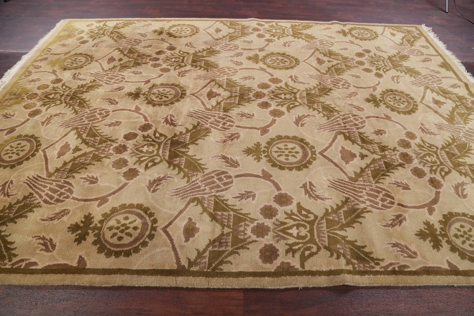 Art & Craft Beige Nepal Indian Oriental Hand-Knotted Area Rug Wool 9x12