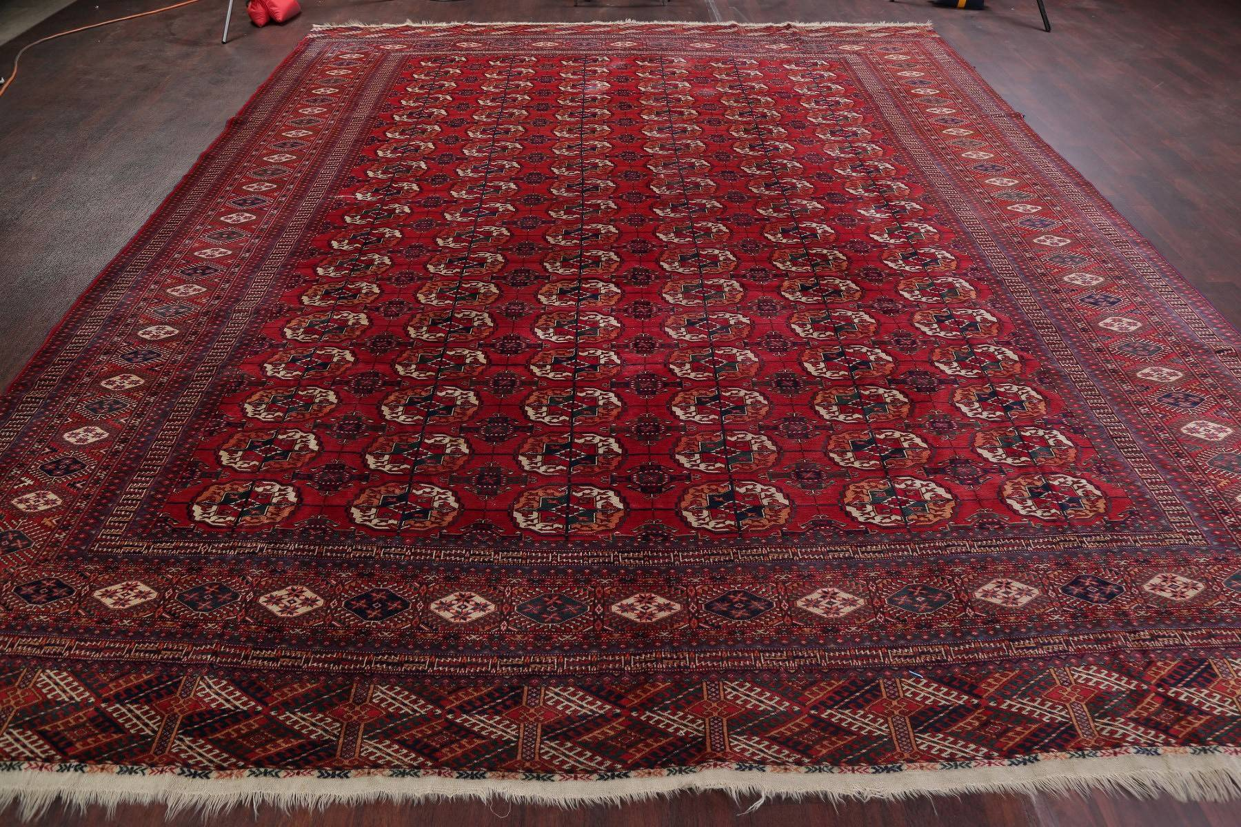 Vegetable Dye Red Kazak Russian Oriental Hand-Knotted Area Rug Wool 11x13