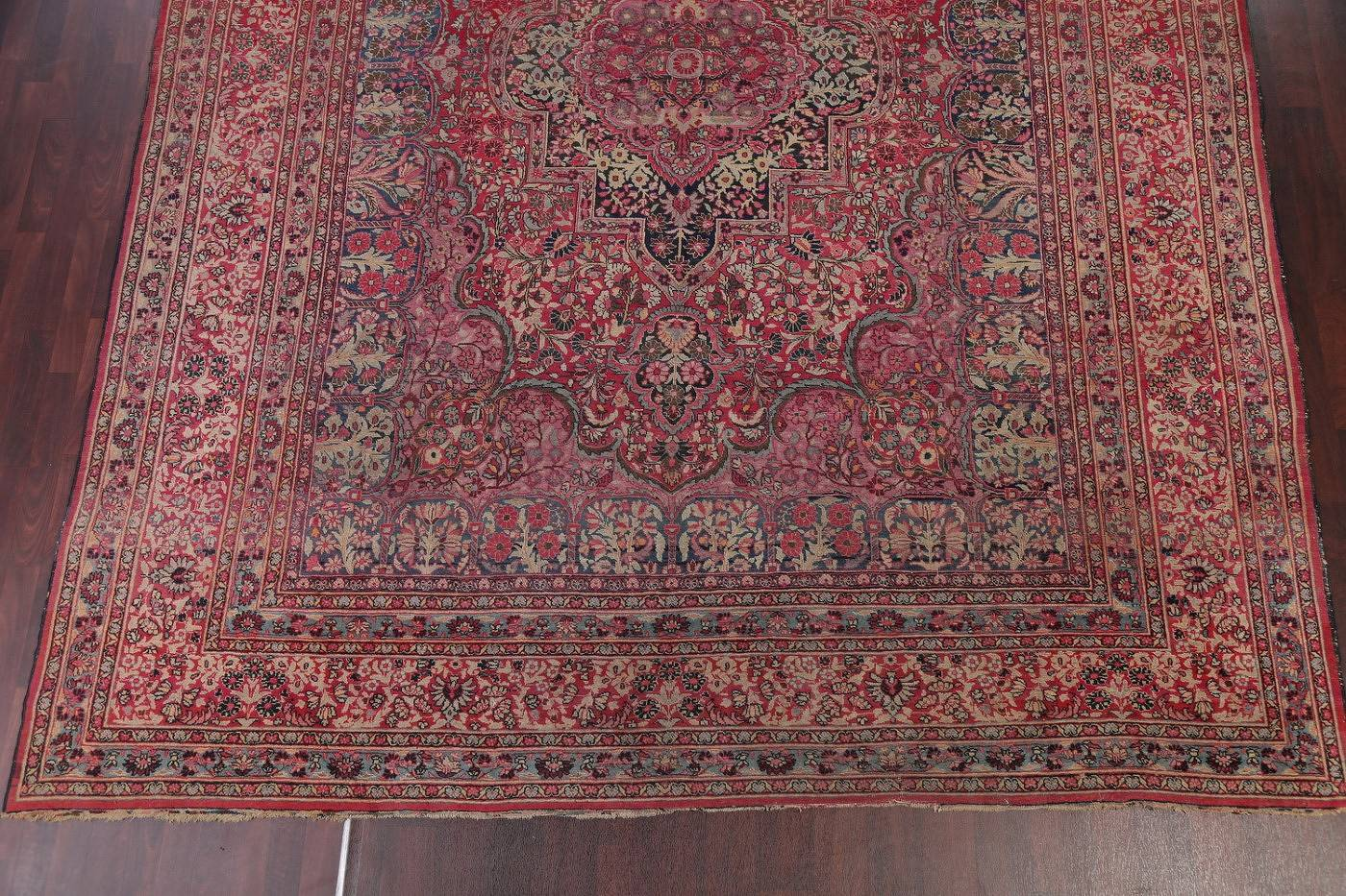 Antique Floral Red Dorokhsh Persian Hand-Knotted Area Rug Wool 11x14