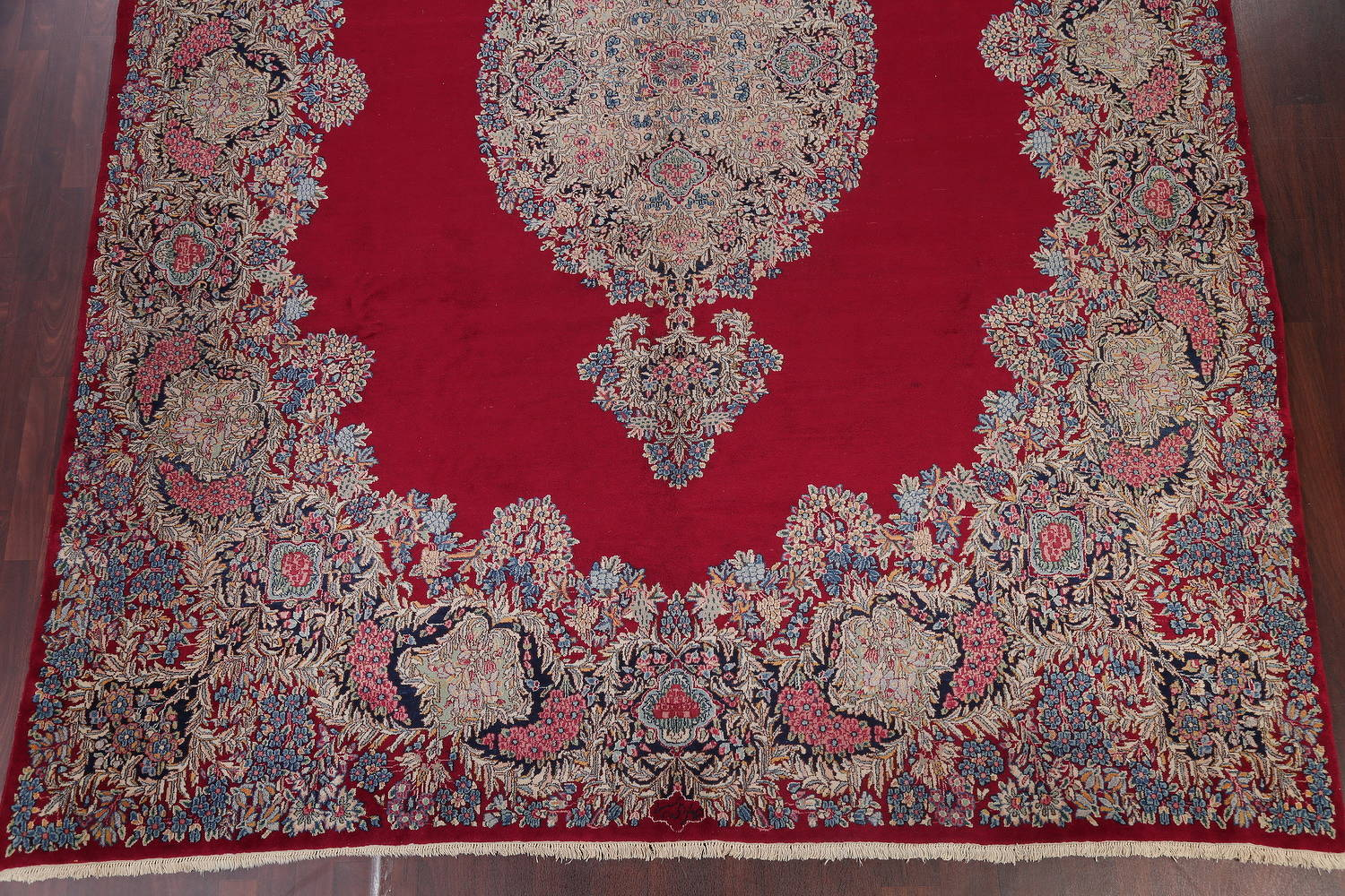 One-of-a-Kind Floral Red Kerman Persian Hand-Knotted 10x13 Area Rug Wool