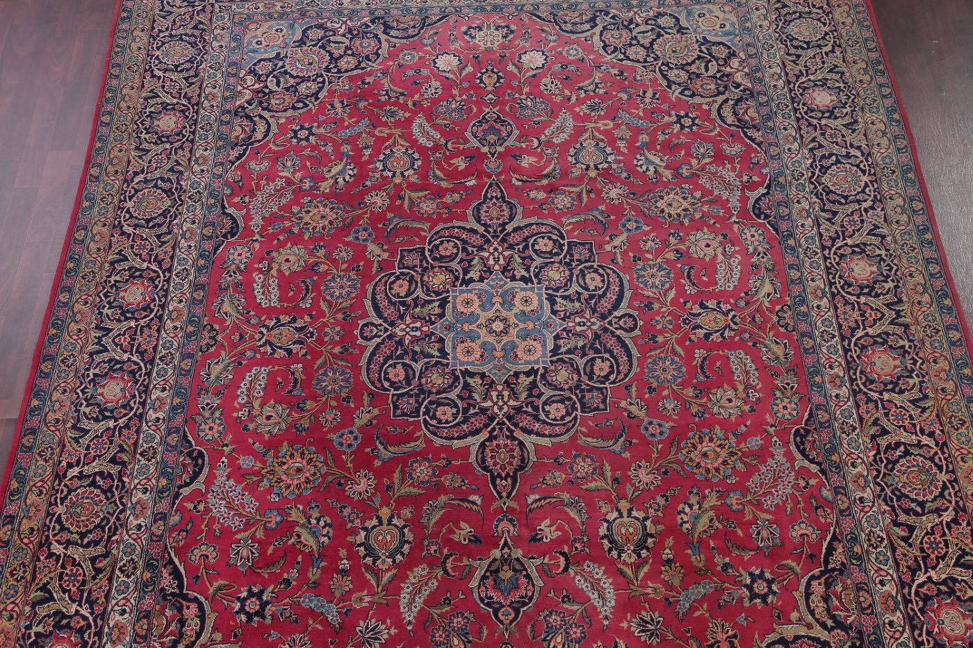 Antique Floral Red Kashan Persian Hand-Knotted Area Rug Wool 9x12