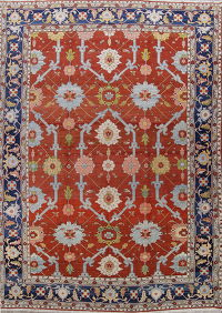 Vegetable Dye Palace Sized Rust Red Heriz Serapi Persian Rug 13x19