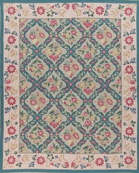 Floral Green Aubusson Chinesel Hand-Woven Area Rug Wool 8x10