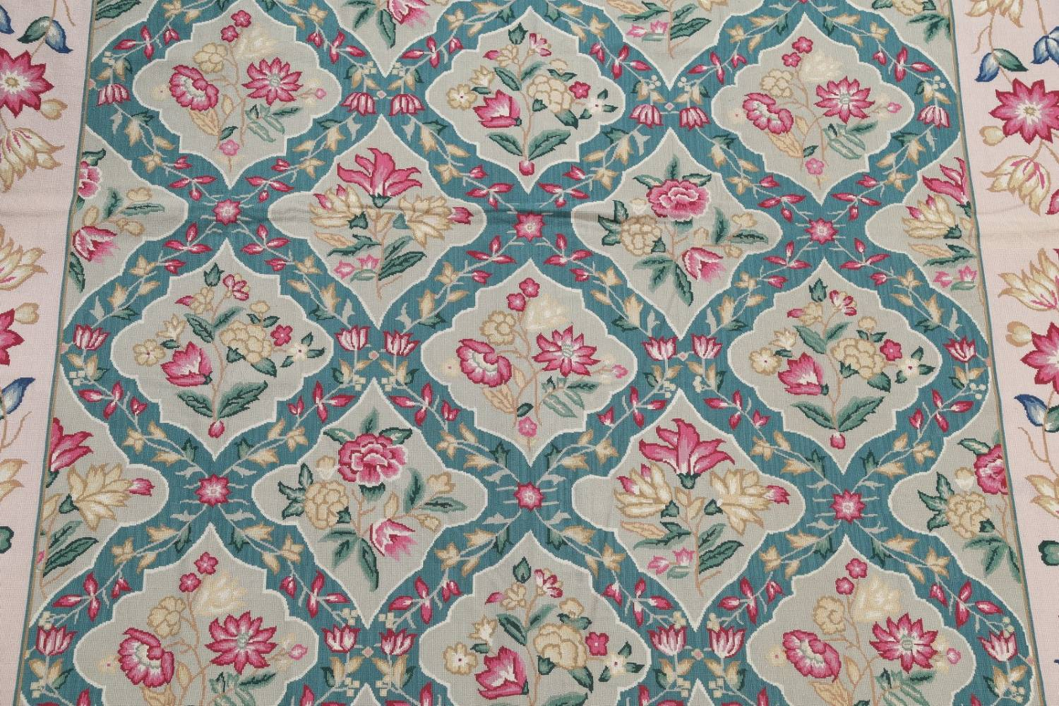 Floral Green Aubusson Chinesel Hand Woven Area Rug Wool 8x10