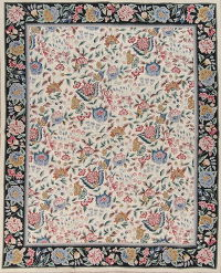 Floral Aubusson Chinese Suzani Embroidered Area Rug Wool 8x10
