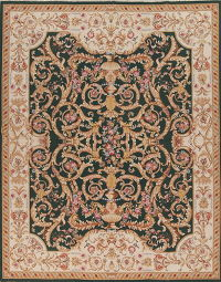 Savonnerie Needle-Point Chinese Hand-Woven Area Rug Wool 8x10