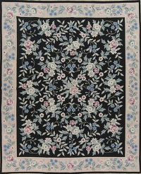 Black Savonnerie Needle-Point Chinese Hand-Woven Area Rug Wool 8x10
