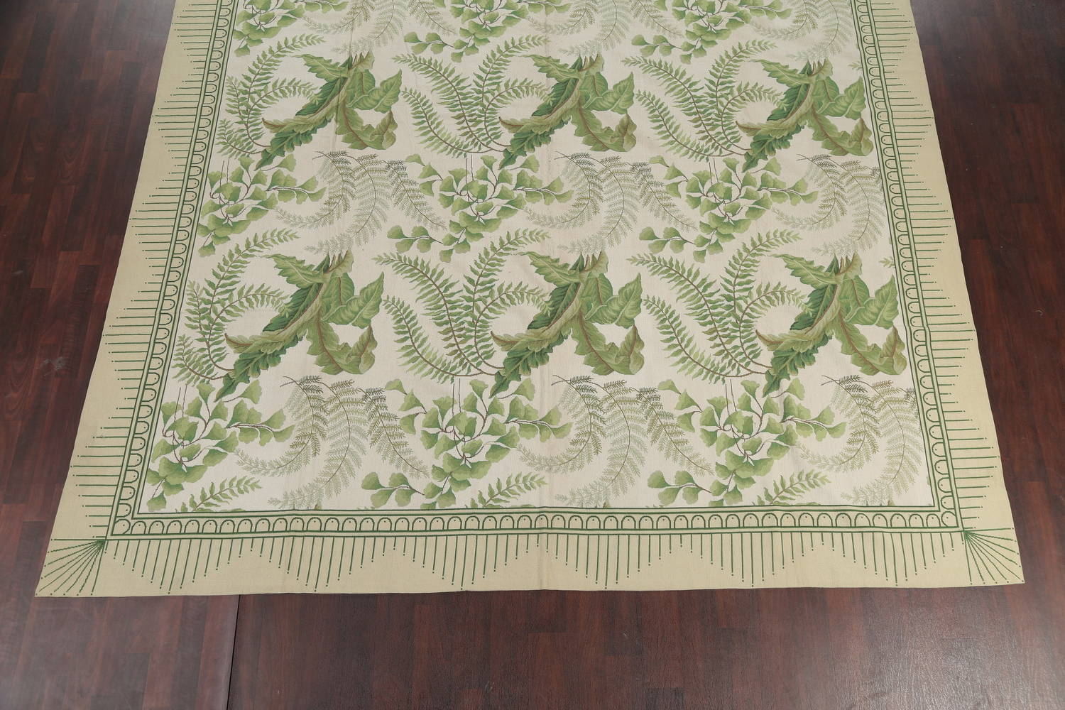 Mansion Floral Green Aubusson Savonnerie Needle-Point Chinese Wool Rug 11x16 image 5