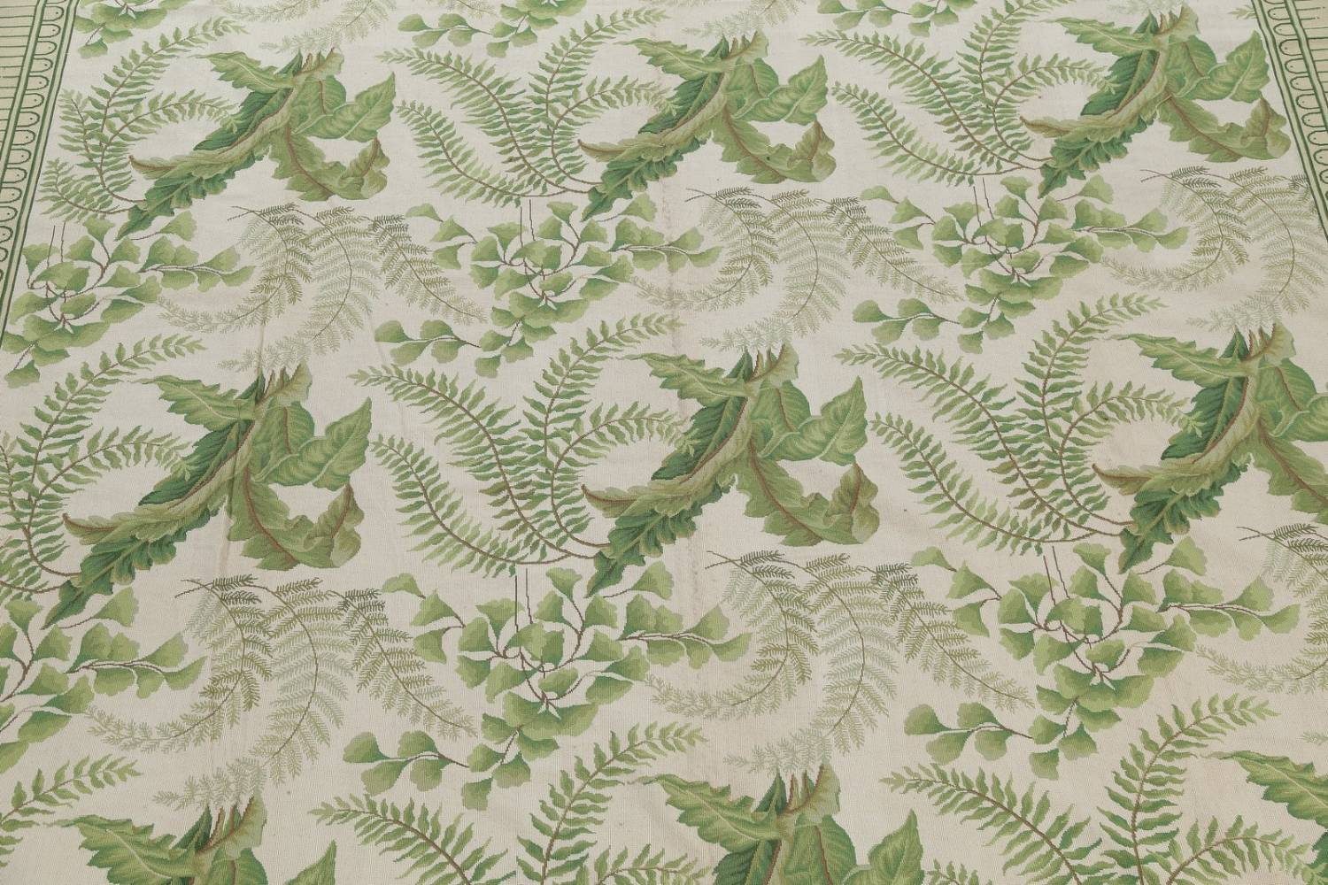Mansion Floral Green Aubusson Savonnerie Needle-Point Chinese Wool Rug 11x16 image 4
