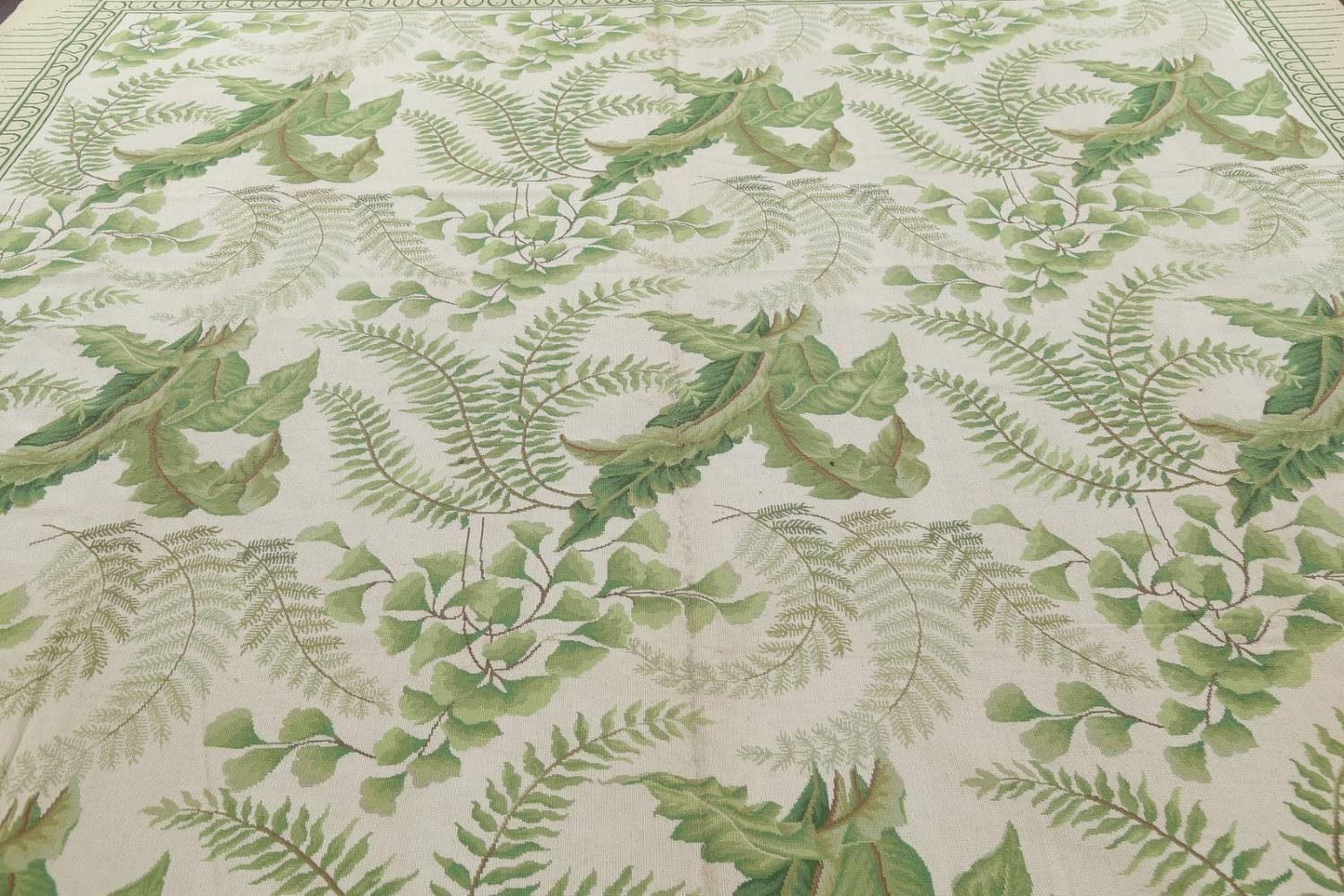 Mansion Floral Green Aubusson Savonnerie Needle-Point Chinese Wool Rug 11x16 image 10