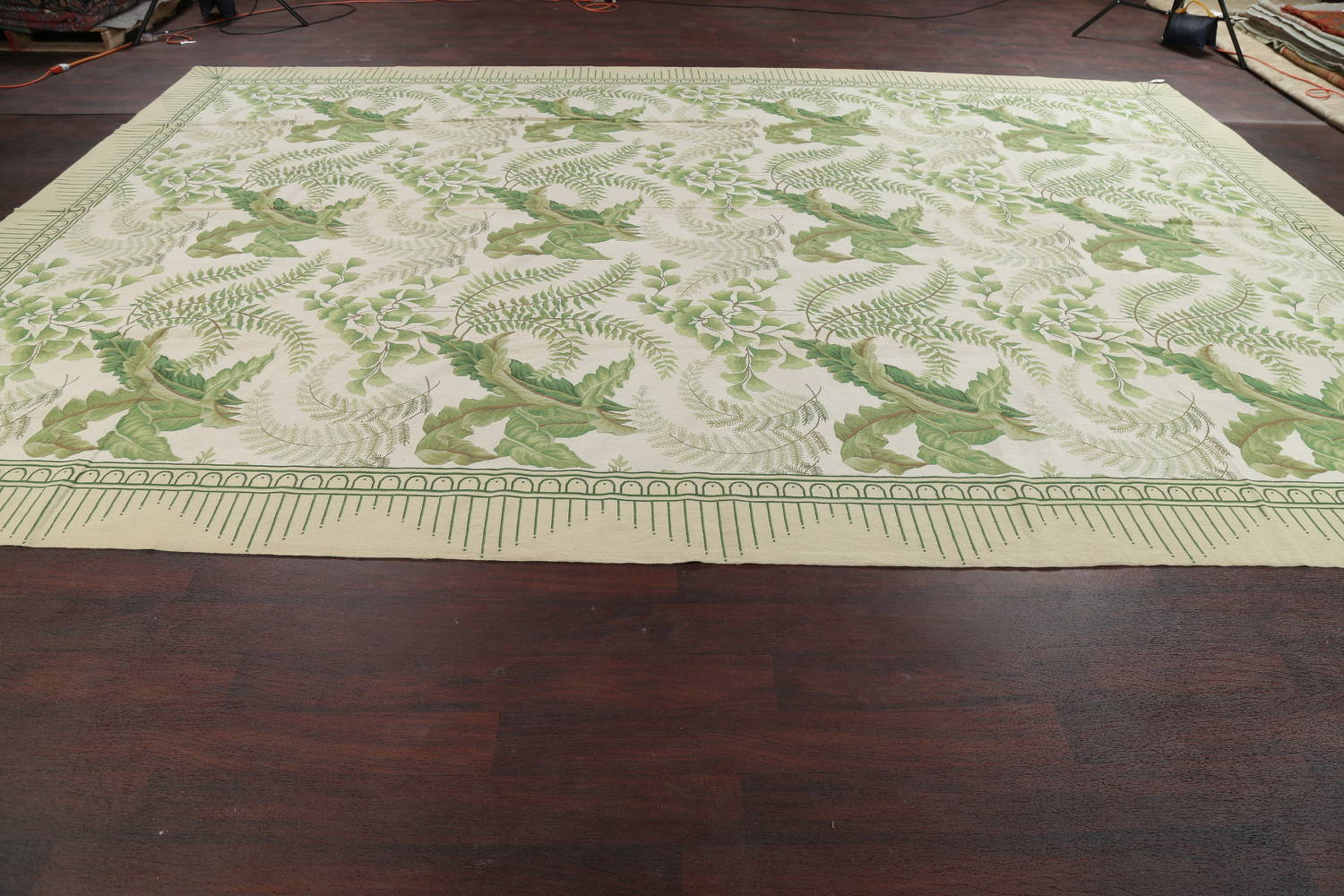 Mansion Floral Green Aubusson Savonnerie Needle-Point Chinese Wool Rug 11x16 image 13