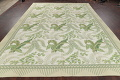 Mansion Floral Green Aubusson Savonnerie Needle-Point Chinese Wool Rug 11x16 image 14