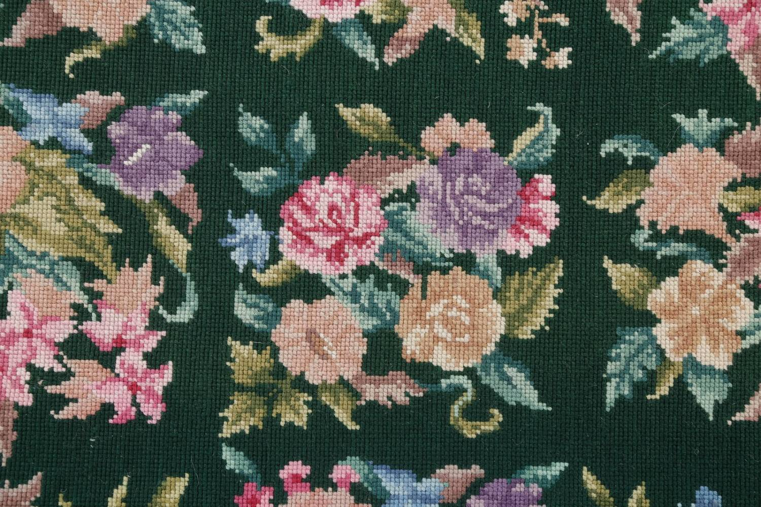 Hunter Green Floral Aubusson Needle-point Chinese Woven Area Rug Wool 6x9 image 7