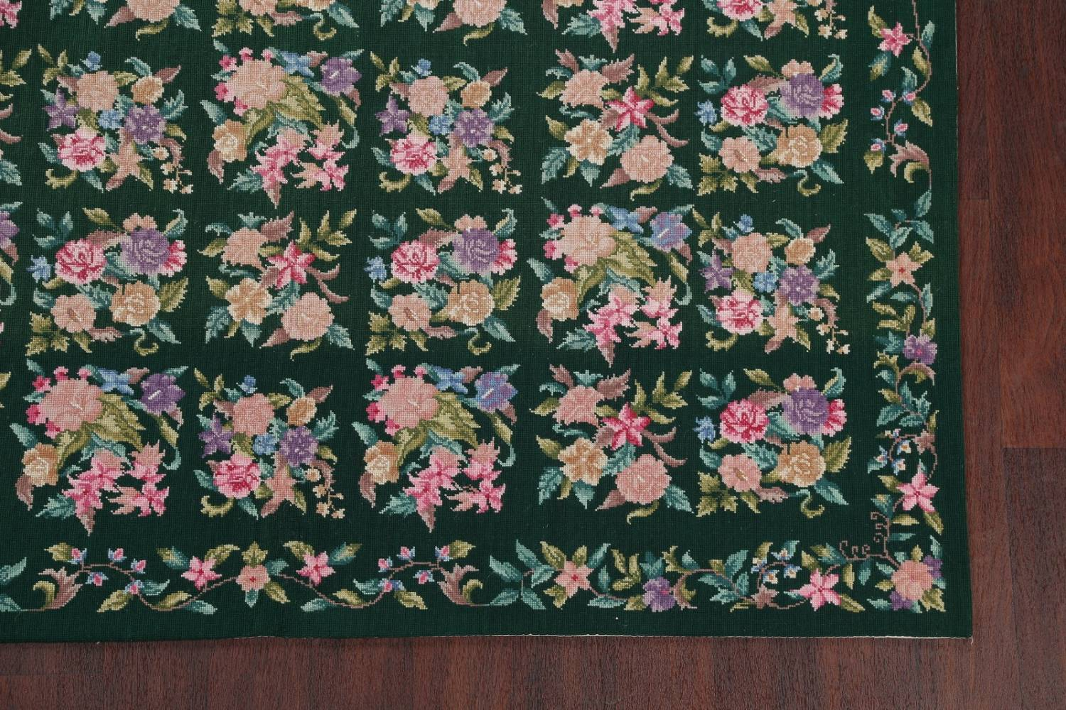 Hunter Green Floral Aubusson Needle-point Chinese Woven Area Rug Wool 6x9 image 6