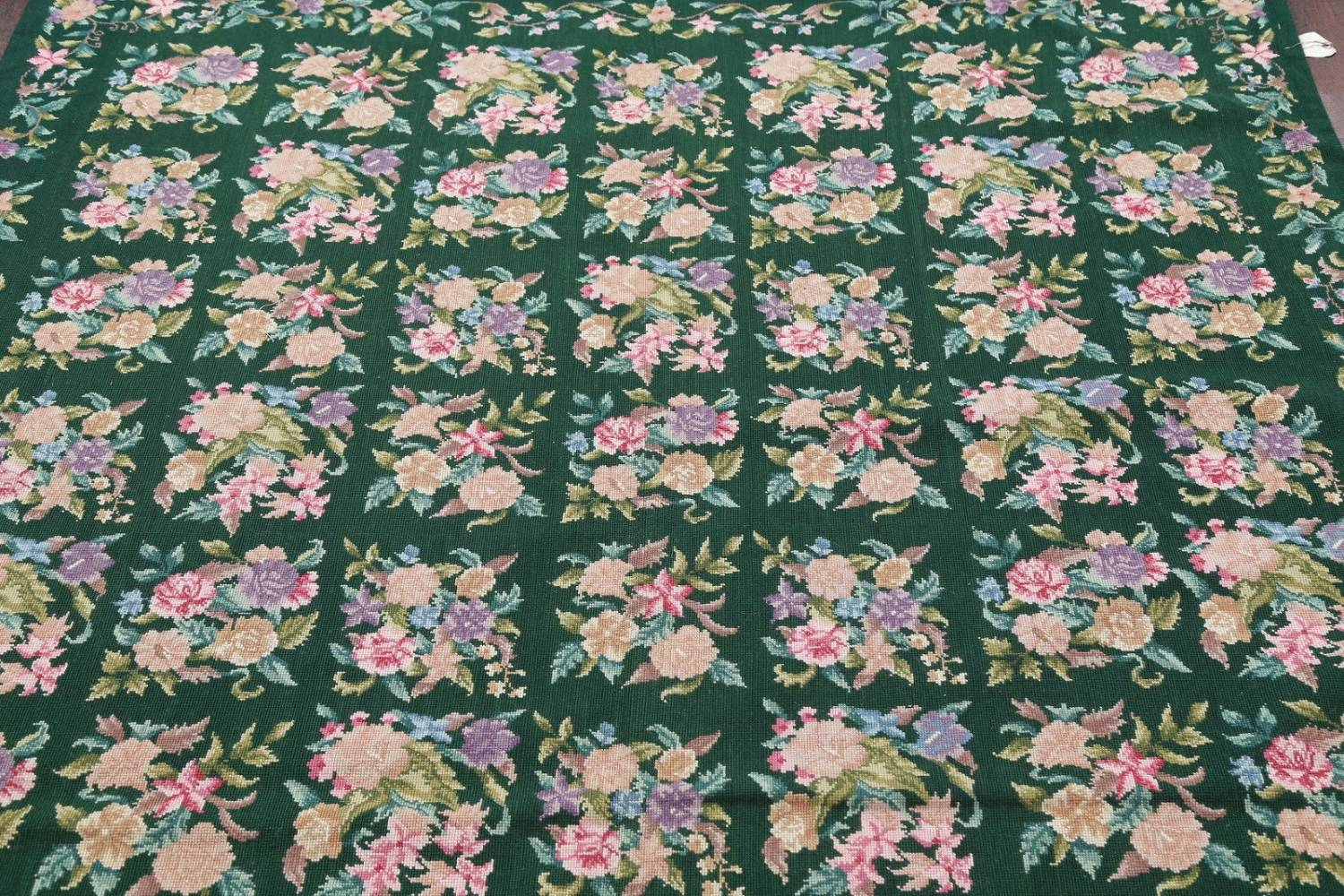 Hunter Green Floral Aubusson Needle-point Chinese Woven Area Rug Wool 6x9 image 9