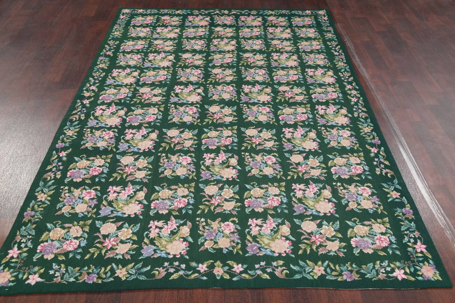 Hunter Green Floral Aubusson Needle-point Chinese Woven Area Rug Wool 6x9 image 12