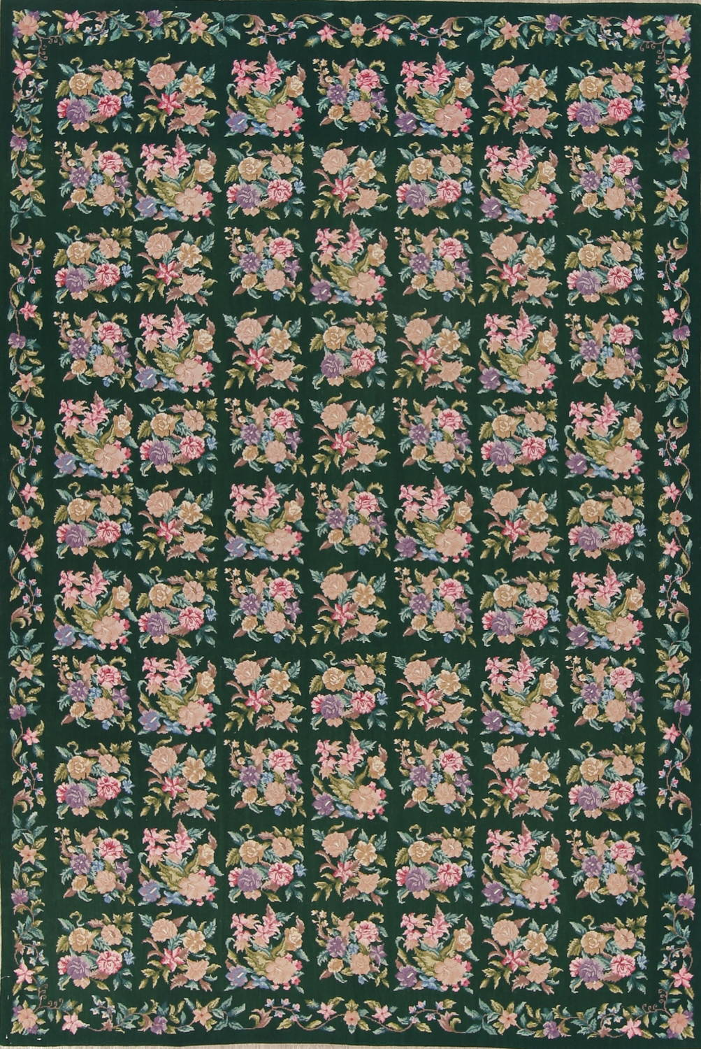 Hunter Green Floral Aubusson Needle-point Chinese Woven Area Rug Wool 6x9 image 1