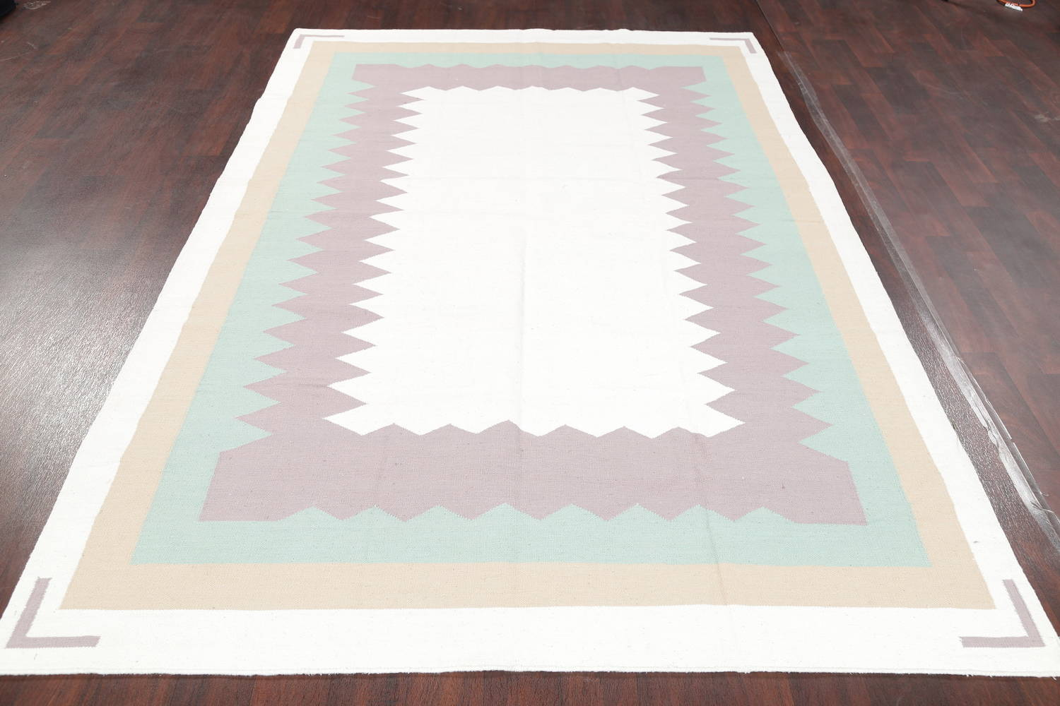 Contemporary Ivory Kilim Dhurrie Oriental Hand-Woven Area Rug Wool 6x9 image 12