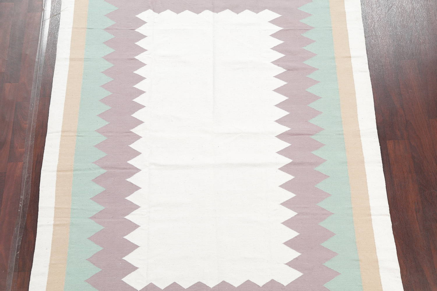 Contemporary Ivory Kilim Dhurrie Oriental Hand-Woven Area Rug Wool 6x9 image 3
