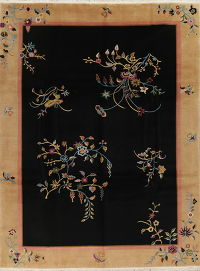 Floral Black Art Deco Chinese Oriental Hand-Knotted Area Rug Wool 9x12