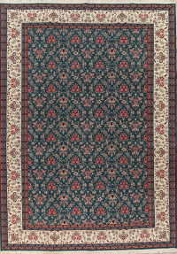 Floral Green Kashan Oriental Hand-Knotted Area Rug Wool 10x14